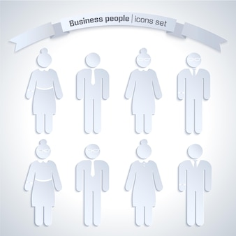 Gray color business people isolated icon set with figures of man and woman at work