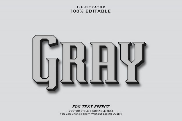 Gray color editable text effect style , editable style