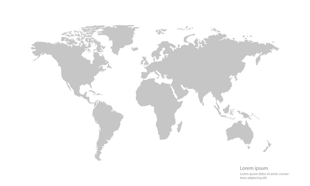 Gray color vector world map on white background