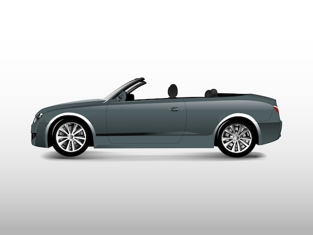 Gray convertible car isolated on white vector