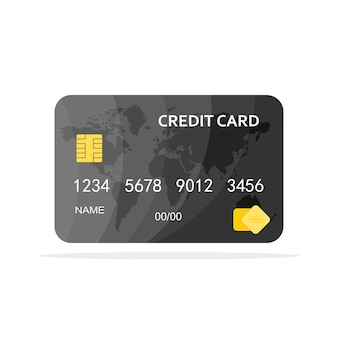Gray credit card isolated illustration