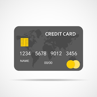 Gray credit card isolated isolated on white