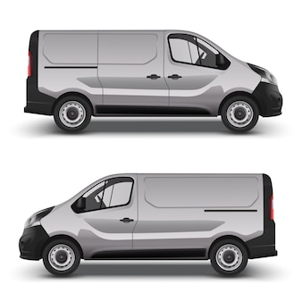 Gray delivery minivan, city minibus right and left side view, with shadow
