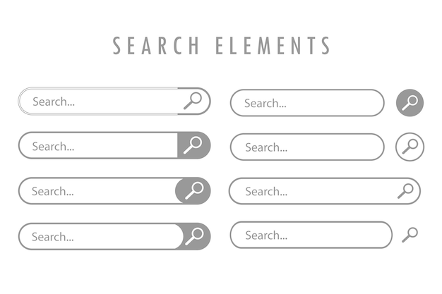 Gray, different design elements of search