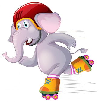 Gray elephant skating on white