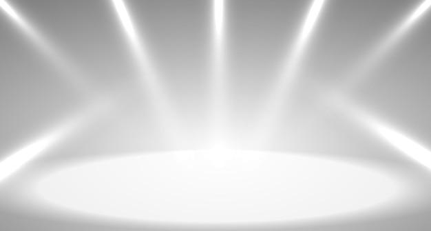스포트라이트 및 디스플레이가 있는 배경에 사용되는 회색 빈 방 스튜디오 그라디언트. 벡터 디자인입니다.