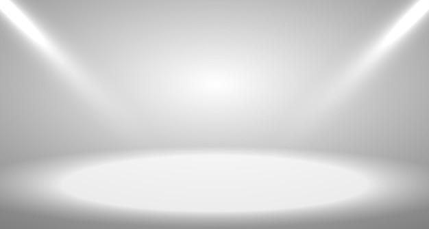 スポットライトとディスプレイの背景に使用される灰色の空の部屋のスタジオグラデーション。ベクトルデザイン。