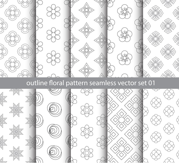 Gray floral pattern seamless vector set for fabric, textile, wrapping paper