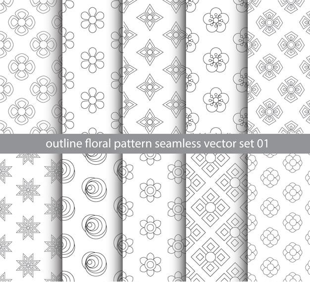 Серый цветочный узор бесшовные векторные набор для ткани, ткани, упаковочная бумага