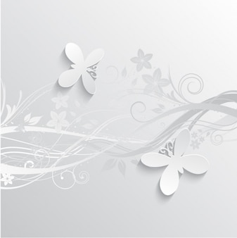Gray Flowers and Butterflies Background