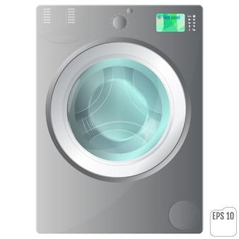 Gray front loading washing machine