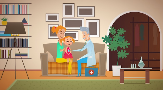 A gray-haired, elderly family doctor listens to a girl with a stethoscope. the child sits on the mother's lap on the couch. mom holds the child by the shoulders. interior of the living room