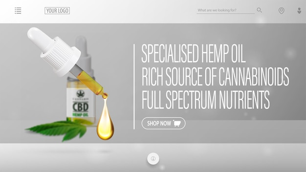 Gray header for website with blurred cbd oil bottle, pipette on foreground and interface elements of website