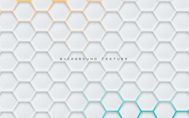 Gray hexagon texture background with orange and blue light