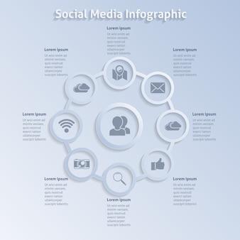 Серые инфографика о социальных сетях