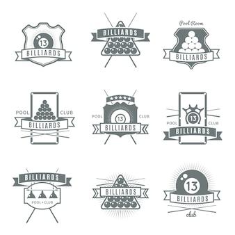 Logo di biliardo grigio e isolato impostato con descrizioni di sala da biliardo e club