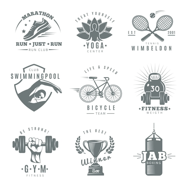 Gray isolated fitness gym logo set with marathon run club tennis wimbledon jab boxing descriptions