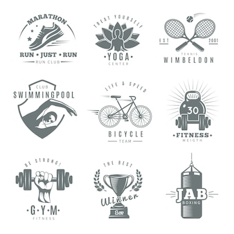 Gray isolated fitness gym logo set with marathon run club tennis wimbledon jab boxing descriptions