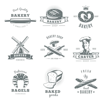 Gray and isolated vintage bakery logo set with best quality carter baker and fresh best bakery descriptions