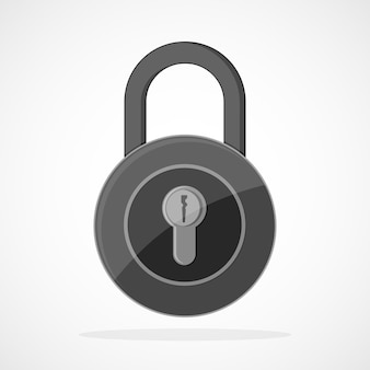 Gray lock icon in flat design. lock sign, isolated