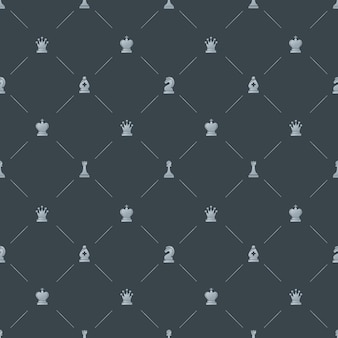 Gray luxury seamless pattern with chess symbols