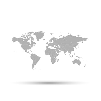 The gray map of the world is depicted on a white background.