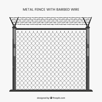 Gray metal fence with barbed wire