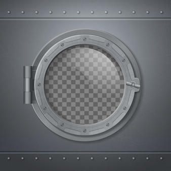 Gray metal porthole realistic and composition with abstract transparent window