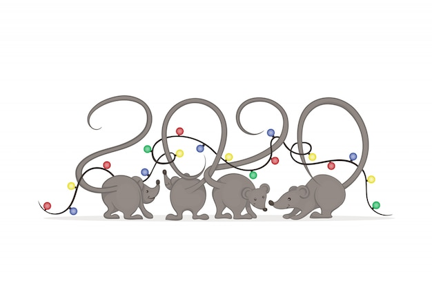 Gray mice with tails that intertwist in the form of numbers wrapped in glowing christmas lights