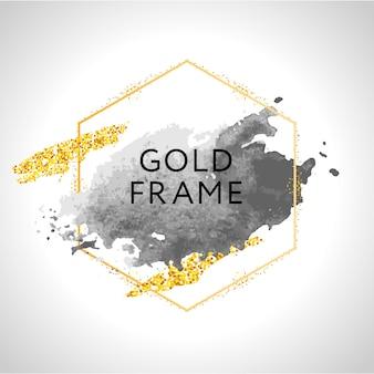 회색, 누드, 복숭아, 황금 브러시 스트로크 및 흰색 배경에 골드 라운드 프레임의 반점. 삽화.