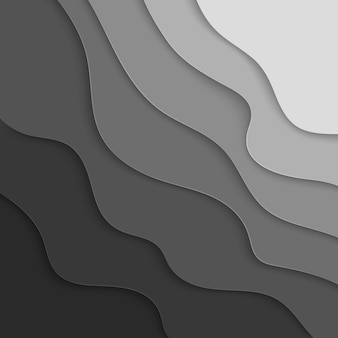 Gray paper graphic elements.  wavy paper cut background.  illustration