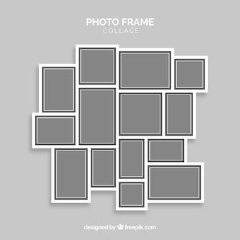 Gray photo frame collage