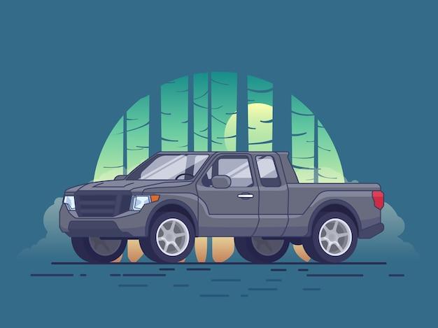회색 픽업 트럭 개념