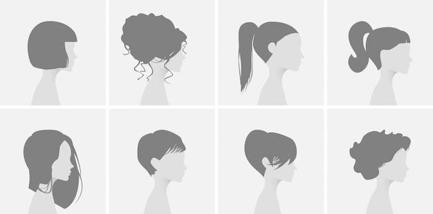 灰色のプレースホルダー写真。デフォルトのアバタープロファイルアイコン。プロファイルの美しいヘアドレスの女の子