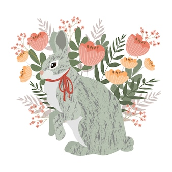 Gray rabbit on a floral background.