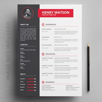 Gray and red resume template