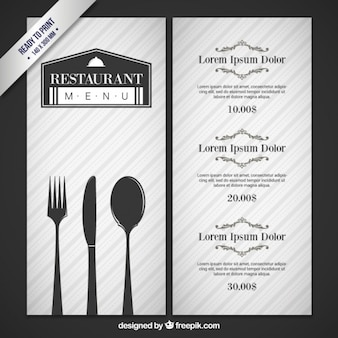 Gray restaurant menu with cutlery