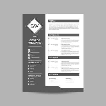 Gray resume template