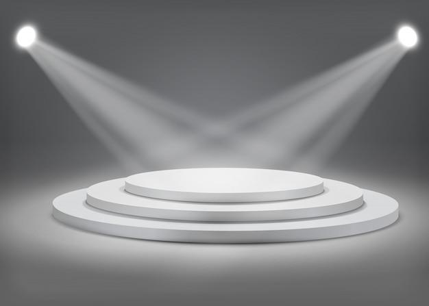 Gray round podium with spotlights