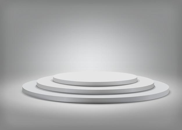 Gray round podium