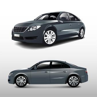흰색 벡터에 고립 된 회색 세 단 자동차