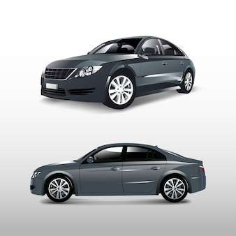 Gray sedan car isolated on white vector