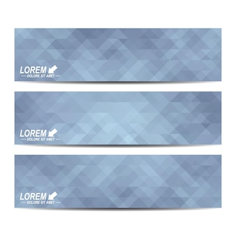 Gray set of banners. background with grey triangles.