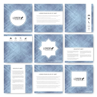 Gray set of square template brochure