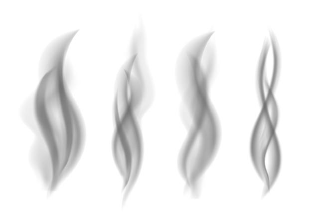 회색 연기 컬렉션입니다. 어두운 증기. 현실적인 스모그 벡터 텍스처입니다.