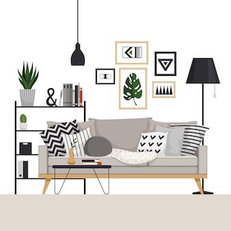 スカンジナビアスタイルのコーヒーテーブルとフロアランプ付きのラックが付いた灰色のソファ。写真、植物、枕付き。リビングルームの一部。