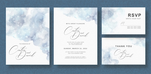 Gray splash watercolor wedding invitation card set