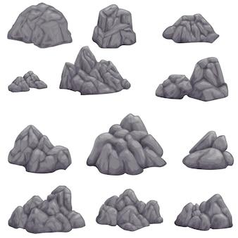 Серый камень на белом фоне изолированное изображение