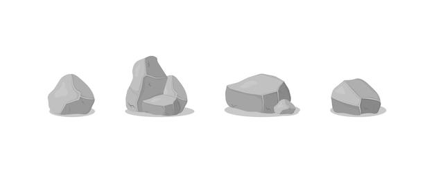 Серая каменная куча, мультфильм иконки. набор серых гранитных камней различных 3d форм. графит рок, уголь и скалы на белом фоне.