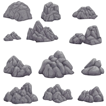Gray stone on white background isolated image